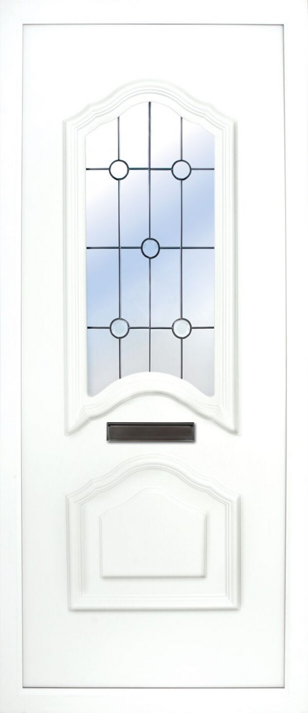 the Mourne Beveled PVC Door Insert Panel is a unique 2-panel design, 2/3 to 1/3 ratio design. It has a beveled panel design for both panels.
