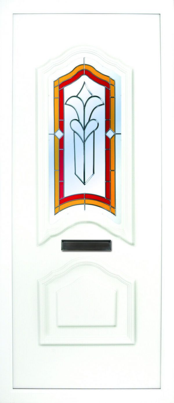 the Moy Fusion 2 PVC Door Insert Panel is a unique 3-panel design, with 2 smaller panels to the bottom and one larger triangle box glass designed on top. You can choose from 3 glass designs with this panel