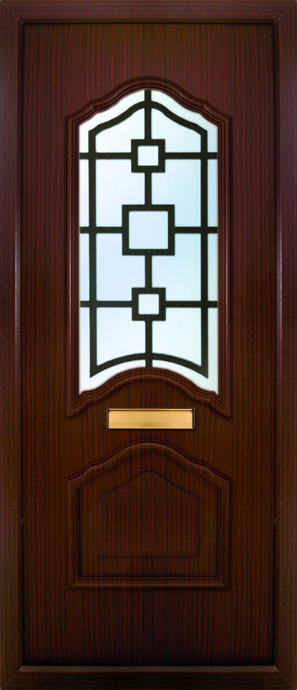 the Mourne Rosewood PVC Door Insert Panel is a unique 2-panel design, 2/3 to 1/3 ratio design. It has a beveled panel design for both panels.
