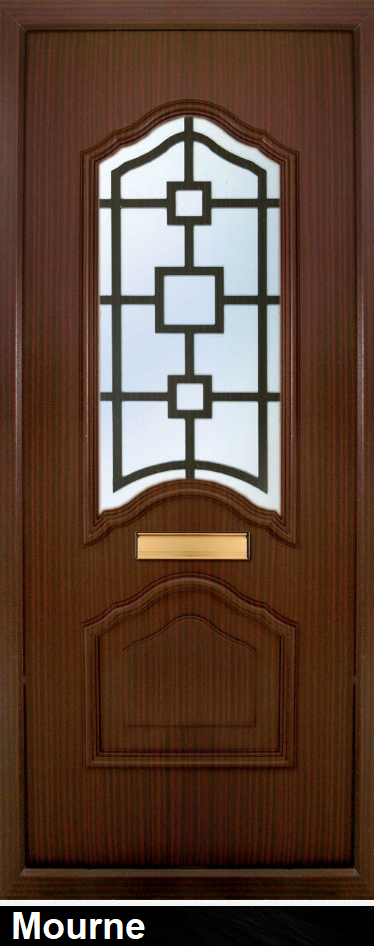 The Mourne Rosewood PVC door insert panels are a sleek design with 2 panels. the bottom and top panels are convex arches, in a choice of colours and 5 glass designs