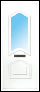 The Mourne PVC door insert panels are a sleek design with 2 panels. the bottom and top panels are convex arches, in a choice of colours and 5 glass designs