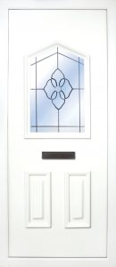 the Moy PVC Door Insert Panel is a unique 3-panel design, with 2 smaller panels to the bottom and one larger triangle box glass designed on top. You can choose from 3 glass designs with this panel