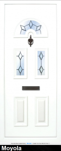 """The Moyola 3 has 2 solid panels, 2 glass panels with a Fusion etched and tile design in the glass, with a """"sunbeam"""" panel to the top the glass can be clear or obscure."""