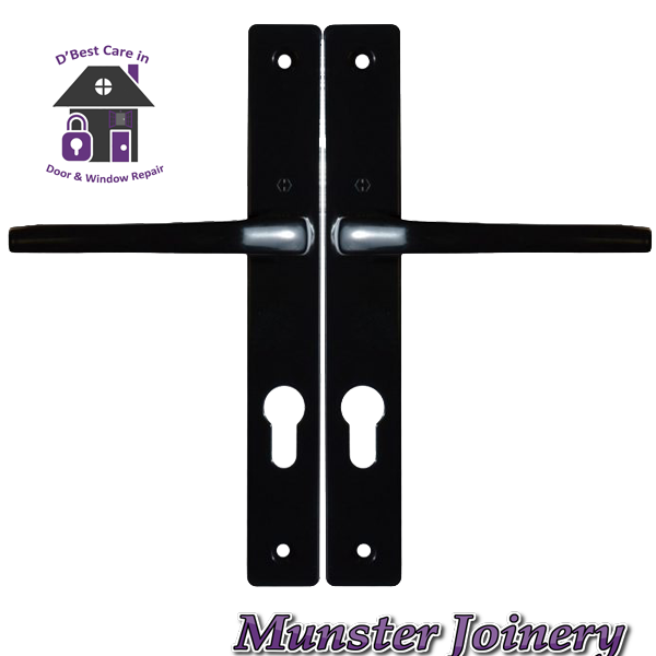 Black Munster Joinery uPVC Door Handle. The size is 70mm PZ with 200mm screw distance, this handle is usually fitted with the Ferco Multi-point Door Lock. This Replacement Door Handle is designed for Exterior doors to suit multipoint locks on uPVC, Aluminium and Timber Doors. Fixing lugs are included which makes it easier fitting. Replacement PVC door Handle for sale, Door parts near me, Window and door parts. door accessories, window accessories, where to buy window and door parts