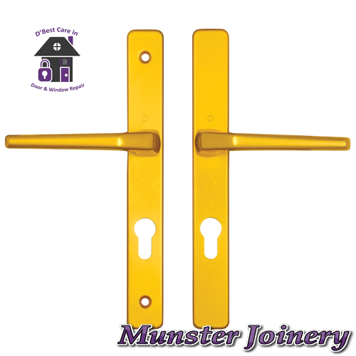 Gold Munster Joinery uPVC Door Handle. The size is 70mm PZ with 200mm screw distance, this handle is usually fitted with the Ferco Multi-point Door Lock. This Replacement Door Handle is designed for Exterior doors to suit multipoint locks on uPVC, Aluminium and Timber Doors. Fixing lugs are included which makes it easier fitting.