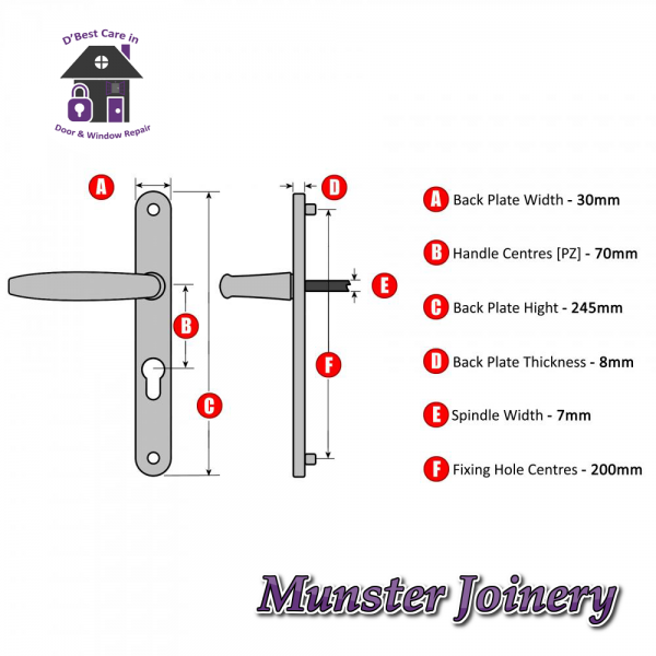 Technical Specifications Munster Joinery uPVC Door Handle. The size is 70mm PZ with 200mm screw distance, this handle is usually fitted with the Ferco Multi-point Door Lock. This Replacement Door Handle is designed for Exterior doors to suit multipoint locks on uPVC, Aluminium and Timber Doors. Fixing lugs are included which makes it easier fitting.