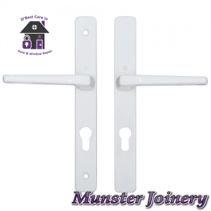 White Munster Joinery uPVC Door Handle. The size is 70mm PZ with 200mm screw distance, this handle is usually fitted with the Ferco Multi-point Door Lock. This Replacement Door Handle is designed for Exterior doors to suit multipoint locks on uPVC, Aluminium and Timber Doors. Fixing lugs are included which makes it easier fitting.
