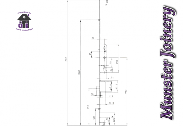 Munster Joinery multipoint door locking mechanism. This is suitable for any door that has a separate deadbolt, but it is mostly fitted door locking mechanism specifications diagram in Munster Joinery doors where there is a latch, deadbolt, and 2 rollers.