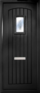 The Nenagh in black is a contemporary design with t&G design with a small slightly arched glass panel to the top. It comes in an array of colours and 4 glass design options.