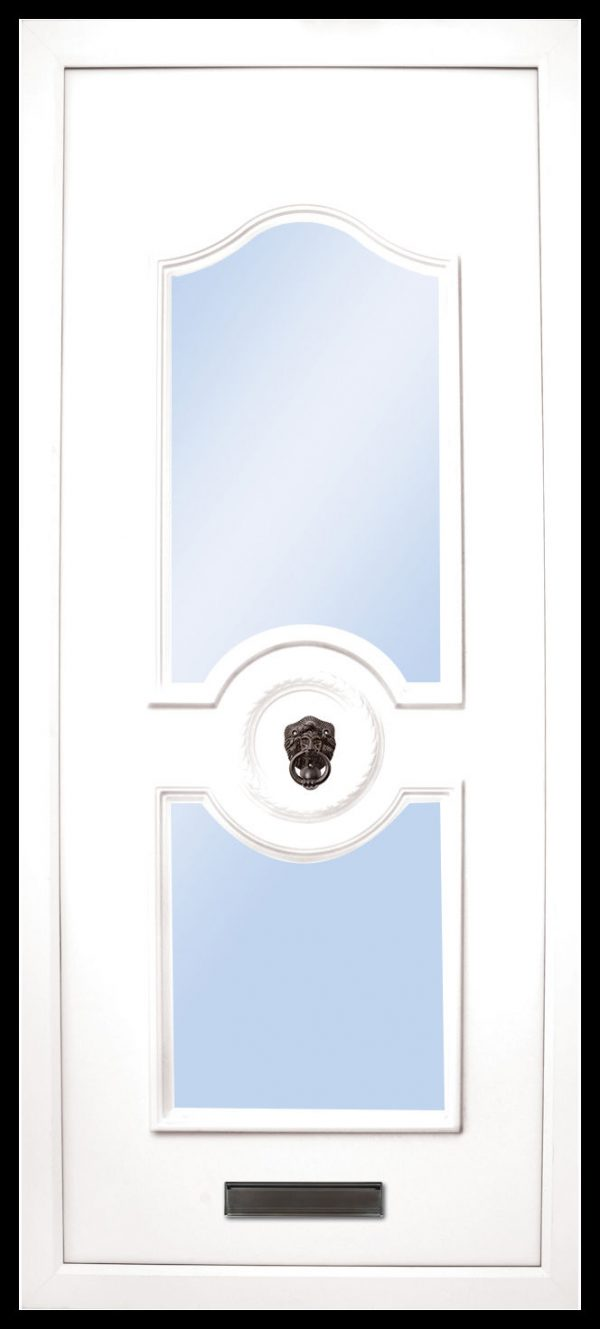 The Shannon 2 glazed panel PVC door insert panels is a sleek design with 2 panels. the bottom and top panels are convex arches and around panels in the center for your doorknob, it is an elegant choice for the more sleek home. There is a choice of colors and 4 glass designs