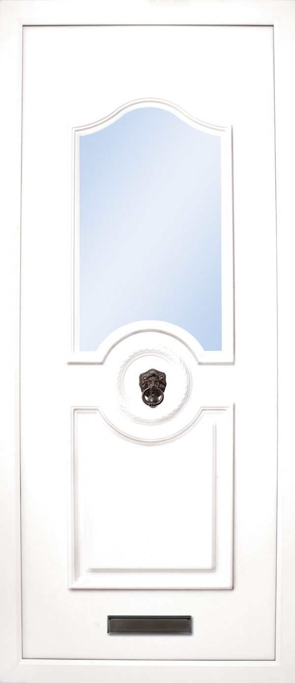 The Shannon PVC door insert panels is a sleek design with 2 panels. the bottom and top panels are convex arches and around panels in the center for your doorknob, it is an elegant choice for the more sleek home. There is a choice of colors and 4 glass designs