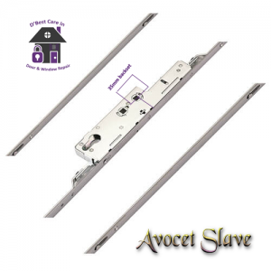 """The Avocet slave lock is designed for use on the slave leaf of a pair of french doors. Shootbolts secure into adjustable french door strikers for optimum compression at the top and bottom of the door. Enhanced security shootbolts are also available featuring a """"return"""" for additional screw fixing into the sash."""