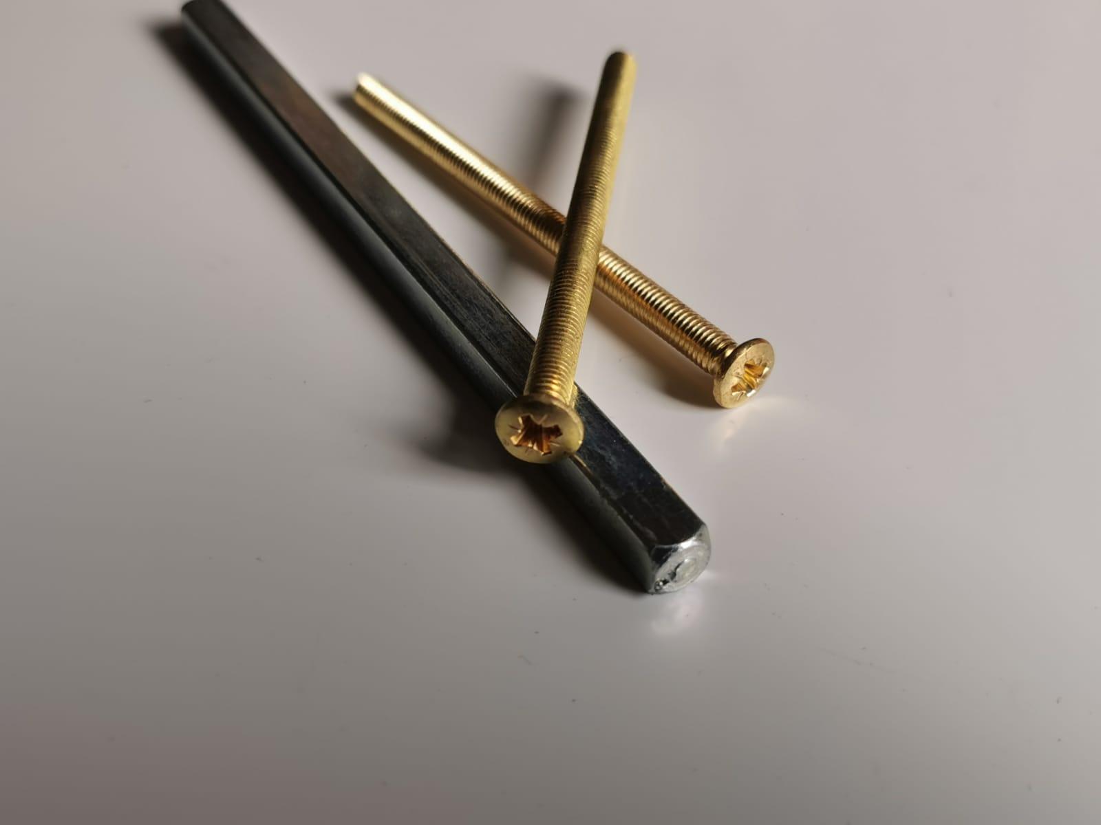 buy Door Handle Bolt Screws in gold, 5mm x 80mm / M5 Long Dome Head + 7mm Handle Lever Spindle 130mm Long online