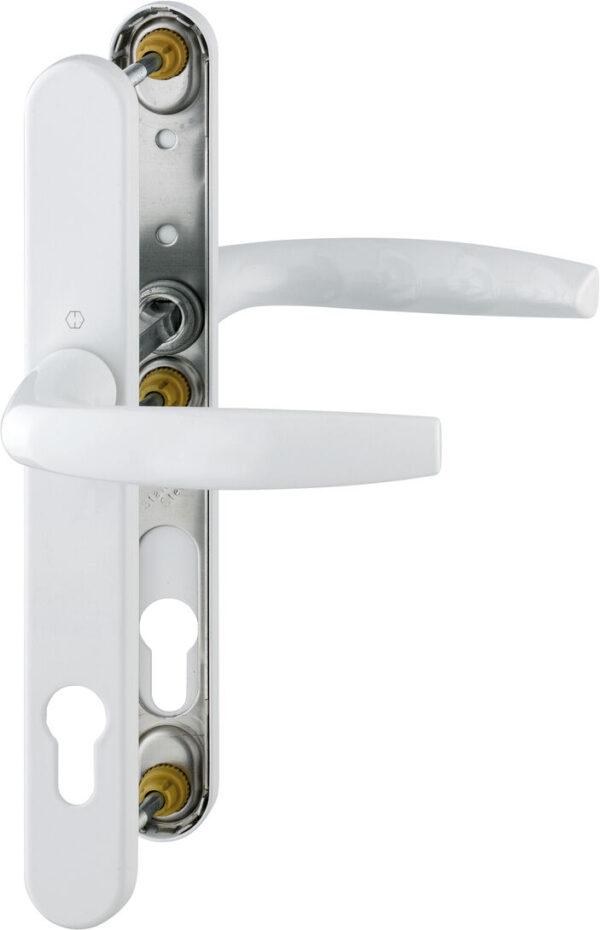 Hoppe Atlanta 240mm Backplate 122, pvc door handle, composite door handlem Screws Sprung 92PZ white