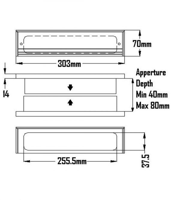 buy Postmaster Letterplate with a curved frame design and an all aluminium construction. Telescopic sleeves for midrail depths 40mm-80mm. Size 303mm x 70mm online in ireland