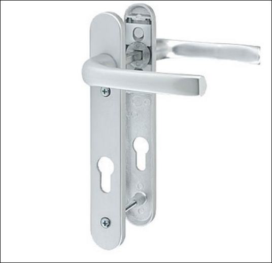 Pro Linea UPVC Door Handles Set Lever/Lever White 92pz - 122mm Screw fixings type A Silver, pvc door handle, composite door handle