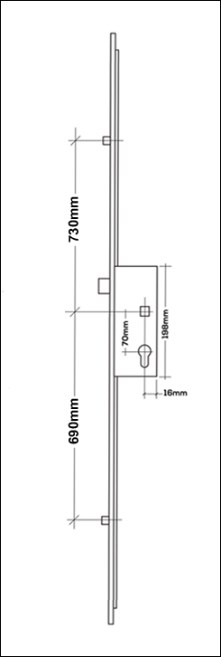 Munster Joinery GU Ferco multipoint Door Lock 1 piece mechanism consisting of a latch and 2 rollers. It is available in with either a 35mm backset diagram. the rod on the side of the door that slides up and down when you lift the handle, door locking rod, rod on side of door to lock, bar in the door frame to lock the door with the handle, door mutlipoint locking mechanism. door espag, locking mechanism, doorl ock, the metal strip that moved up and down in the door by the handle