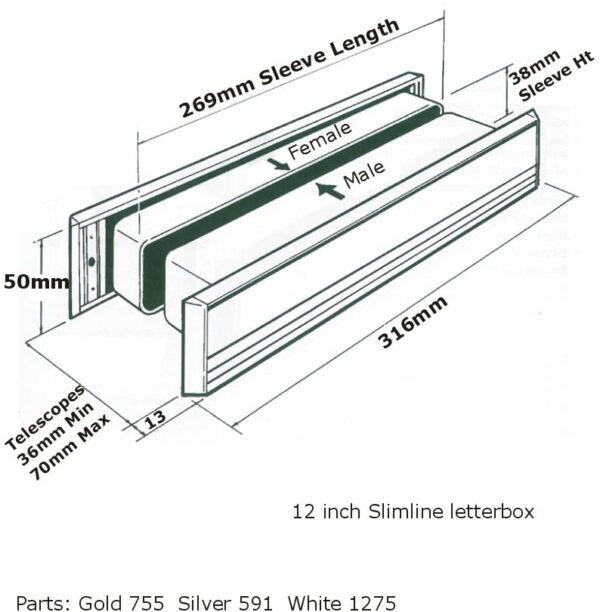 Diagram MILA Slim Master UPVC Letter Box 36-70 - 316mm Wide