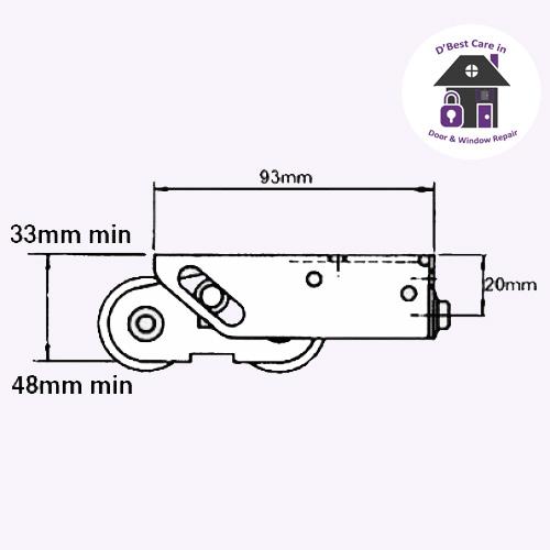 technical specifications 1 X Pair of Bogie wheel rollers. (Pair = 2 patio roller wheels rollers bogies with steel wheels)