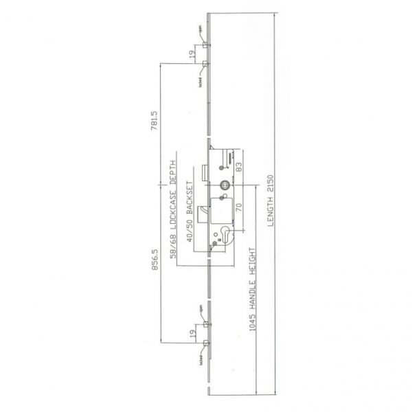 Diagram sizes schematics best place to buy GU Ferco Fercomatic Latch, Deadbolt, 2 Rollers this is a suitable replacement for the old Ferco Trimatic lock online in ireland delivery