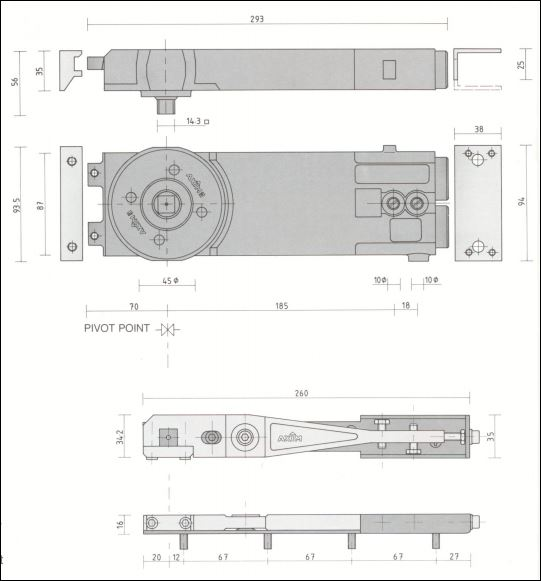 specification size parts kit diagram best place to buy parts to repair commercial shop office and commercial door closer AXIM A TC8812-90 AXIM Transom Door Closer Commercial Shop Retail Hold-open Medium duty & Pivot Kit online in ireland