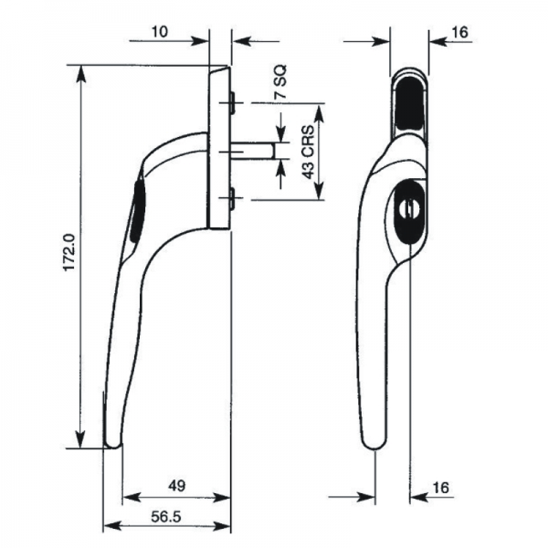 Technical specification diagram Best Place to buy Winlock Custodian espag casement window handles (also suitable for Munster Joinery Prestige window profile and Aluclad window profiles) online in Ireland