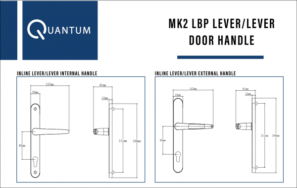 QUANTUM LONG BACK PLATE Designed with both functionality and aesthetics in mind, our premium Quantum MK2 Long Back Plate door handles are fully suited with the door and window furniture from the same range, delivering a consistent high quality & stylish look. 211mm screw centres door handle, 210mm screw centres door handle specificaiton