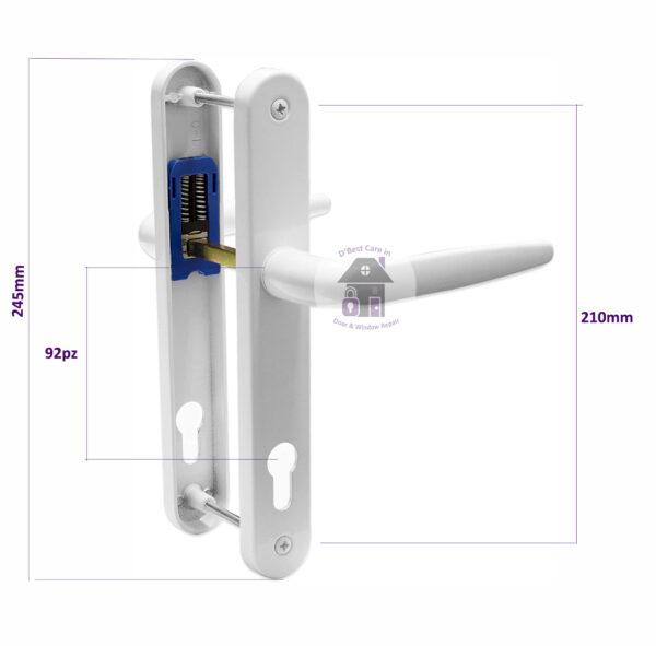 size diagram specification of the trojan sparta door handle best place to buy, buy door handles near me, door handles, 92 pz door handle, UPVC Door Handle Trojan Sparta 92PZ Sprung Double Glazing
