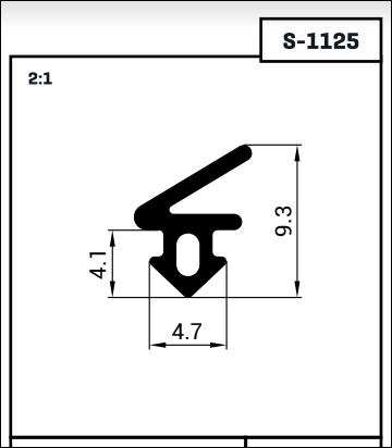 panorama s-1125 Draught Excluder Rubber Extruder Joinery Seal Window Seal diagram specification sizes